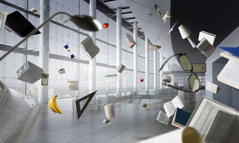 Grote zaal met vliegende voorwerpen vector illustratie