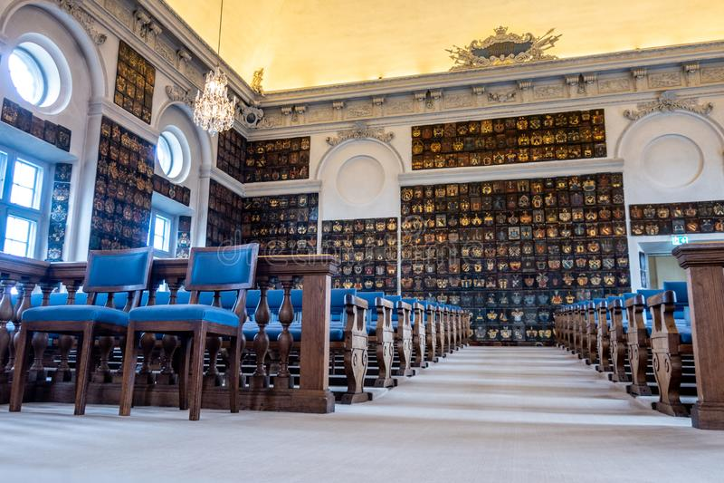 Grote Zaal van het Huis van Adel Riddarhuset, Stadsholmen-eiland, Oud Stadsdistrict Gamla Stan, Stockholm, Zweden stock afbeelding
