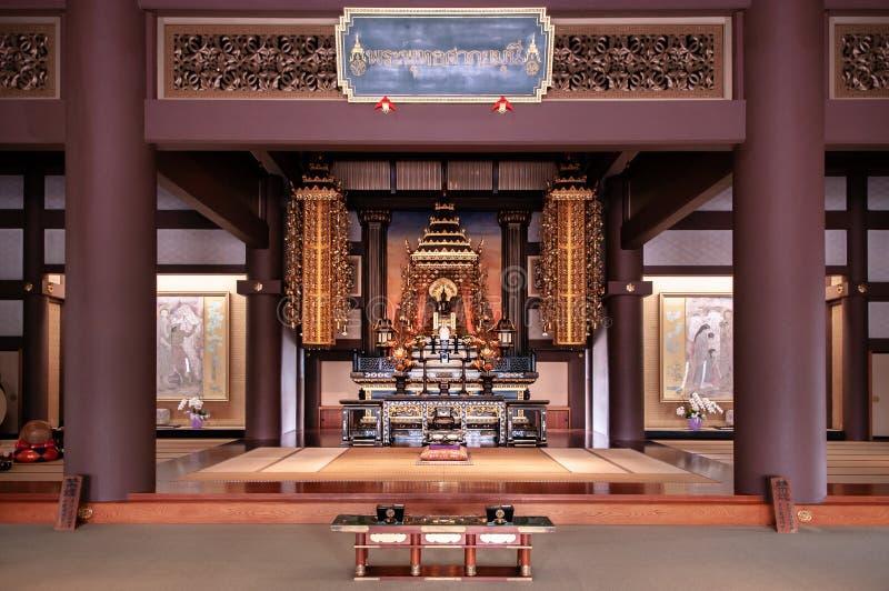 Grote zaal van het oude Thaise standbeeld van Shakyamuni Boedha in Nittai -nittai-ji tem royalty-vrije stock afbeelding