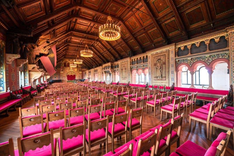 Grote zaal van het Wartburg-kasteel royalty-vrije stock afbeelding