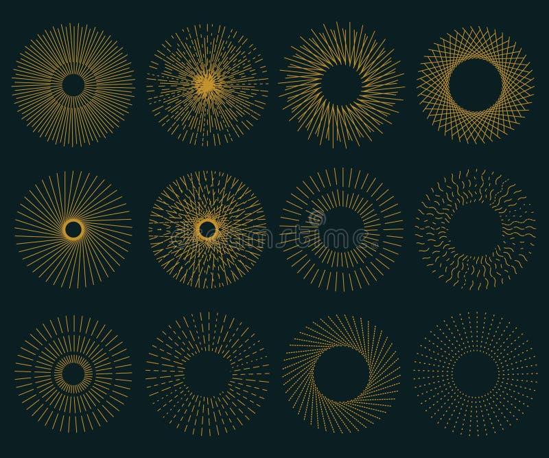 Grote zonnestraal retro reeks stock illustratie