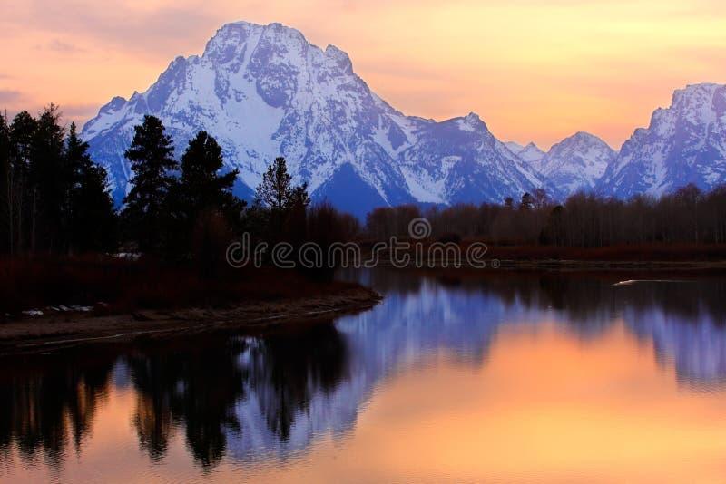 Grote Zonsondergang Tetons stock afbeelding