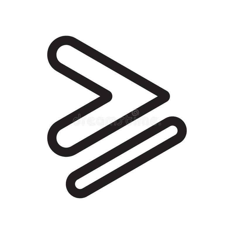 Is groter dan of gelijk aan het vectordieteken van het symboolpictogram en het symbool op witte achtergrond wordt geïsoleerd, is  vector illustratie