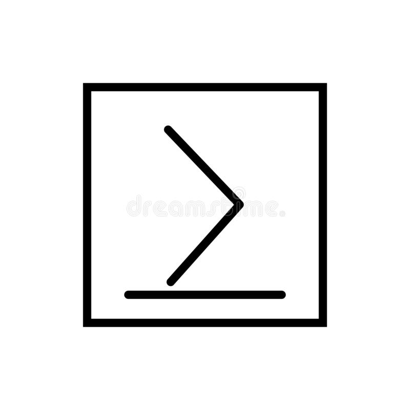 Is groter dan of gelijk aan pictogramvector op witte achtergrond wordt geïsoleerd, is groter dan of gelijk aan teken, lijn en sch royalty-vrije illustratie