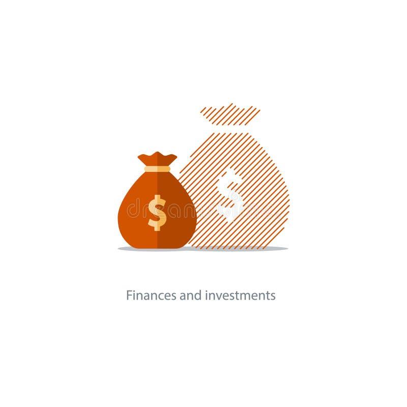 Groter inkomen, uitgaveninflatie, de samengestelde interestgroei, begrotingstekortpictogram royalty-vrije illustratie