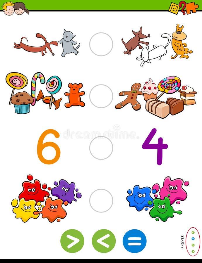 Groter minder of gelijk beeldverhaalspel vector illustratie