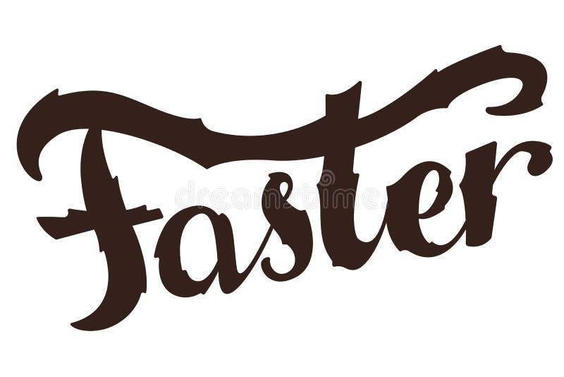 Groter, Sneller, Sterker Het Inspirational sport zeggen Retro Etiket met Kalligrafische Elementen royalty-vrije illustratie
