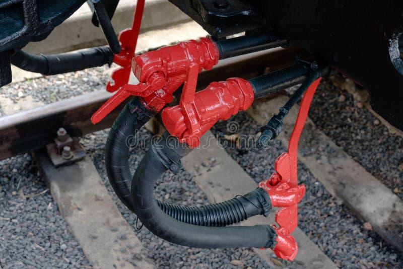Grotere details op de oude stoomlocomotief Zware ijzerdelen Locomotief voor een deel Close-up royalty-vrije stock afbeelding