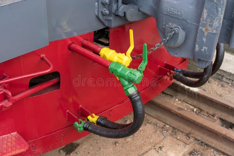 Grotere details op de oude stoomlocomotief Zware ijzerdelen Locomotief voor een deel Close-up royalty-vrije stock foto's