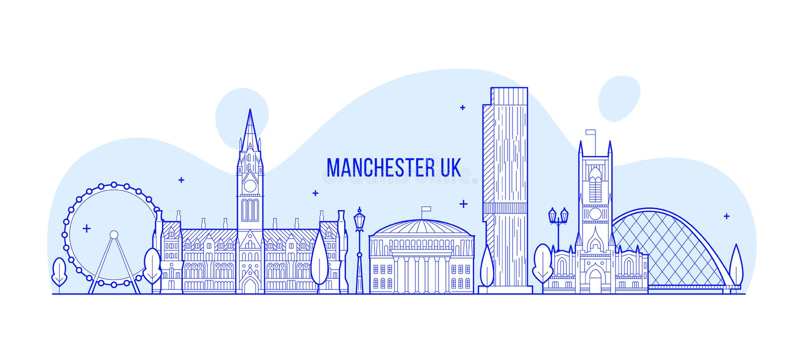 Grotere Engeland het UK vector de horizonlijn van Manchester vector illustratie