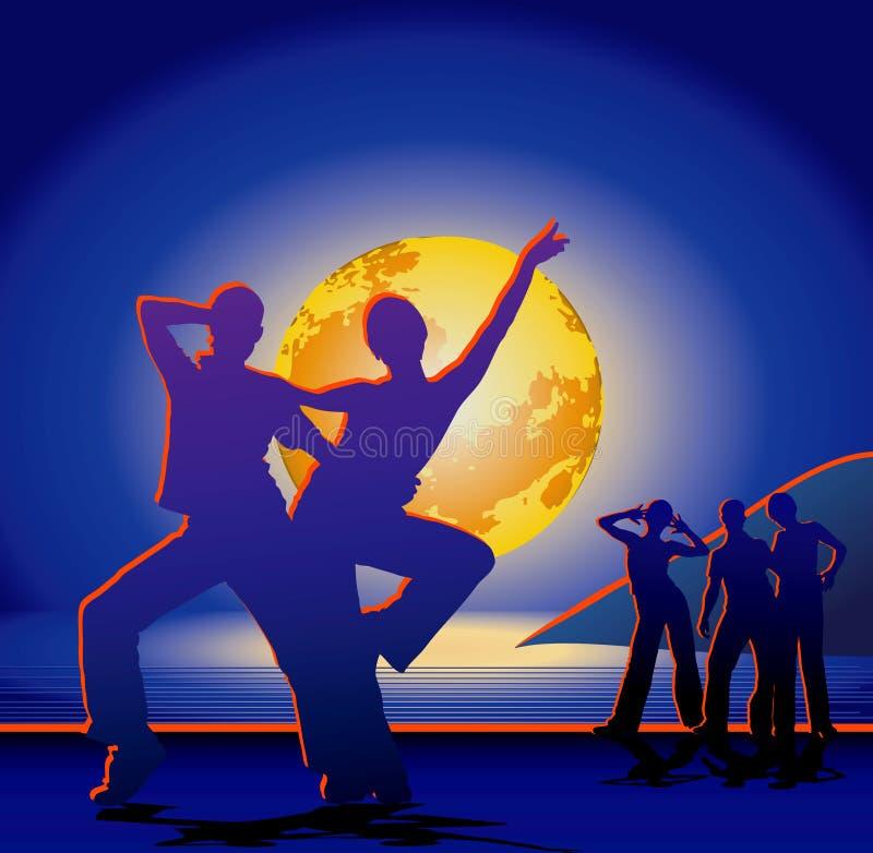 Grotere maan boven het overzees & de Silhouetten van jonge mensen op kust vector illustratie