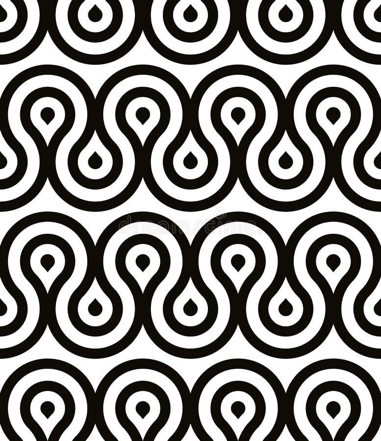 Grotesk golven naadloos patroon, zwart-witte retro stijl geometrische vectorachtergrond royalty-vrije illustratie