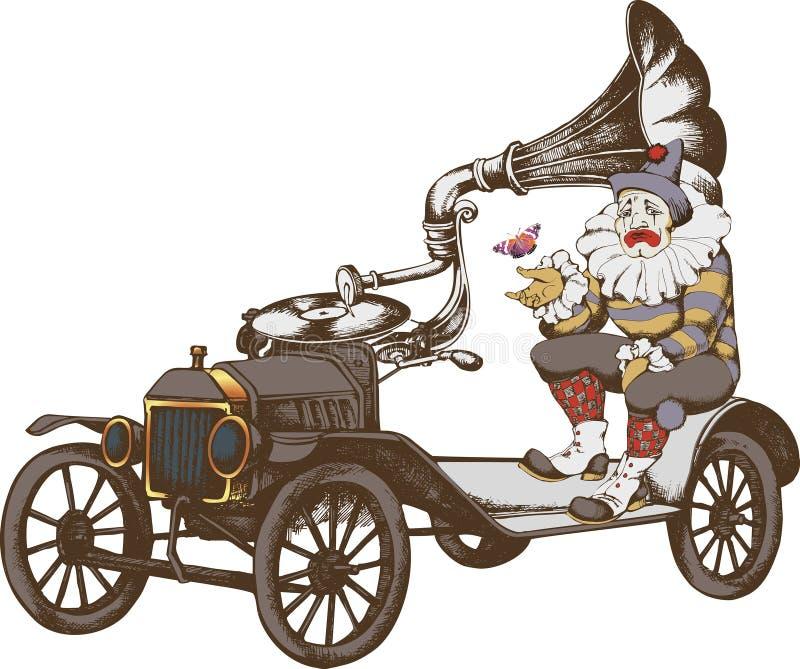 Groteske steampunkauto en droevige clown royalty-vrije illustratie