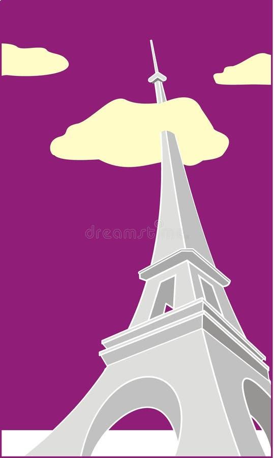 Grotesker Eiffelturm am Abend lizenzfreie abbildung