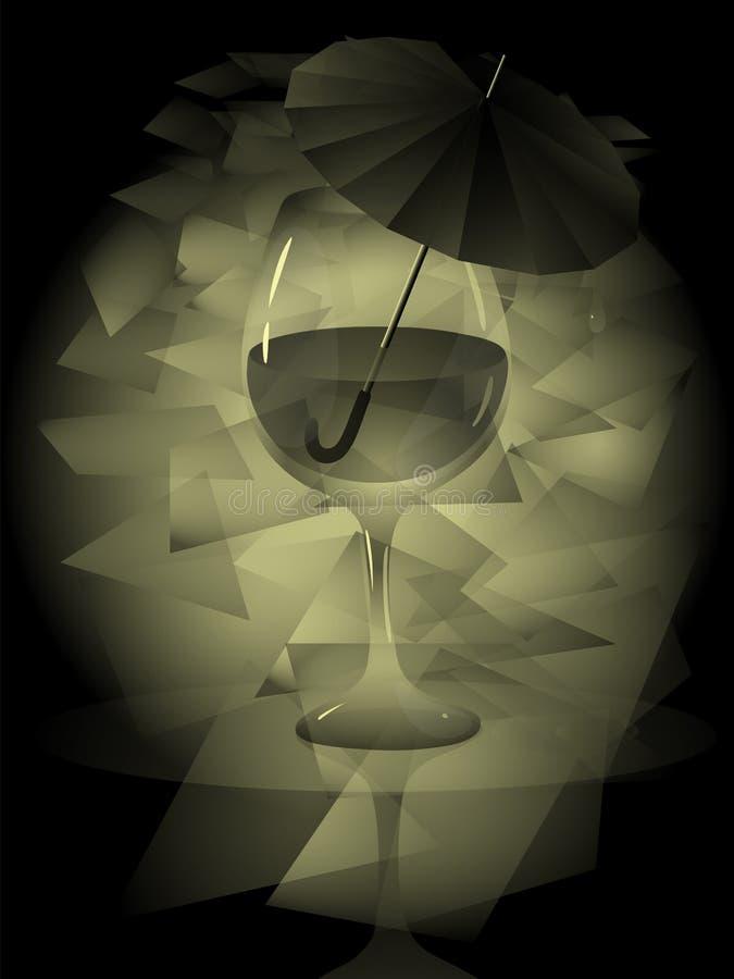 Groteskt stillebenexponeringsglas för vektor av vin med reflexion i vatten och ett paraply från regnet inom exponeringsglaset stock illustrationer