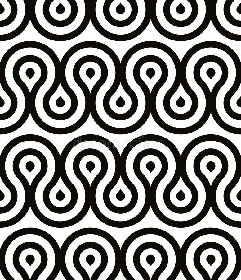 Grotesque waves seamless pattern, black and white retro style geometric vector background royalty free illustration