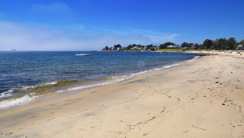 Groton Connecticut coastline. Beach Pacific Ocean blue sky along the Groton Connecticut coastline royalty free stock photography