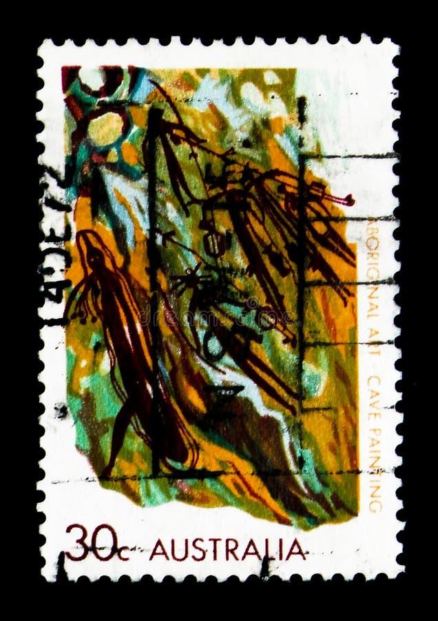 Grotschildering, Inheemse Kunst serie, circa 1973 stock fotografie