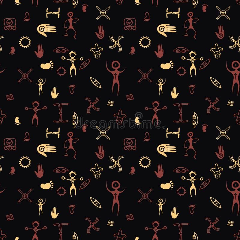 Grotschilderingspatroon Vector voorhistorische kunst naadloze druk vector illustratie