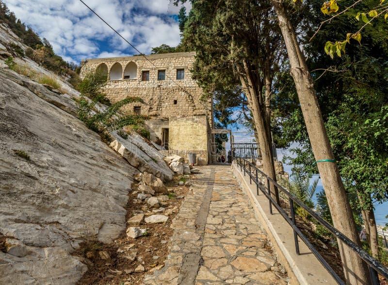 Grotta av Elijah i Haifa, Israel fotografering för bildbyråer