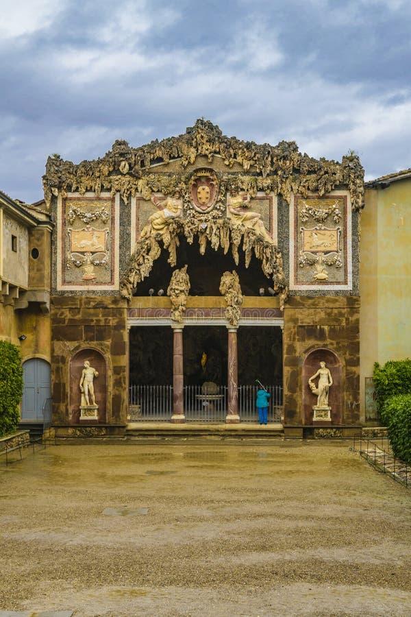 Grotta del Buontalenti, Boboli trädgård, Florence royaltyfria foton