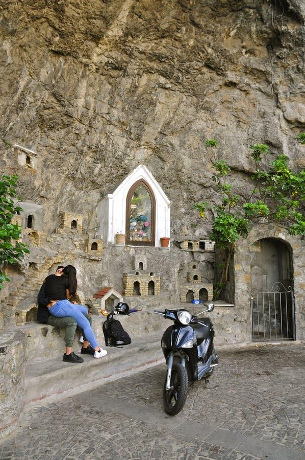 Grotta Di Fornillo, Positano, Italië stock afbeelding