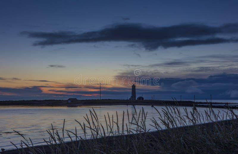 Grotta Island Lighthouse, Reykjavik, Iceland stock image