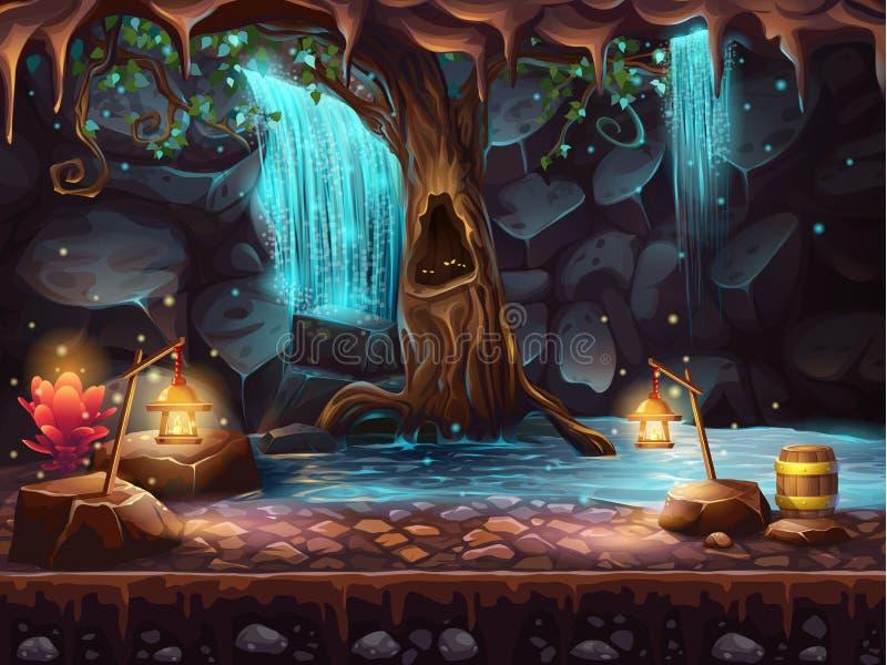 Grotta med en vattenfall och ett magisk träd och trumma av guld stock illustrationer