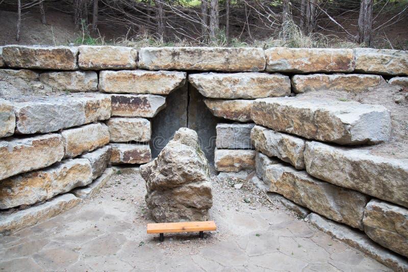 Grotta på den heliga familjrelikskrin Gretna Nebraska arkivbilder