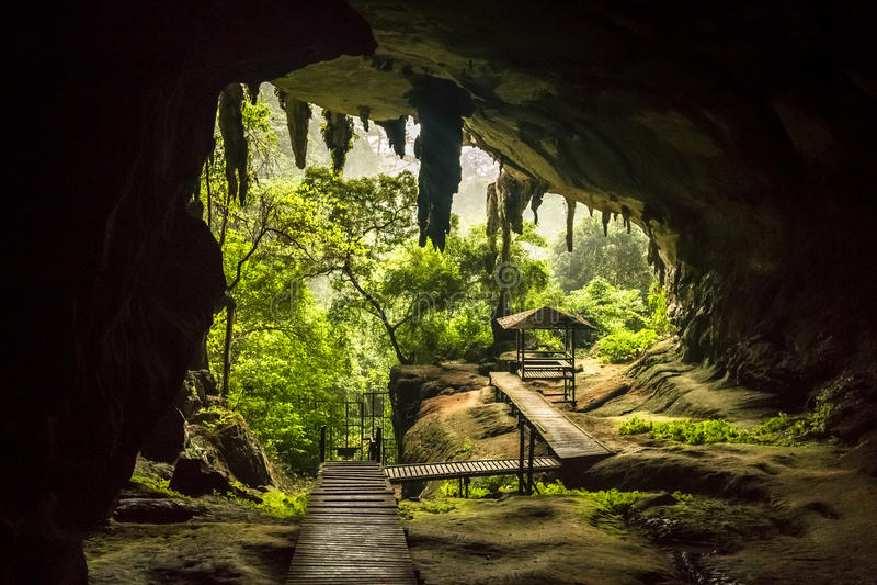 Grottaingång i den Niah nationalparken, Niah grotta i Sarawak Malaysia arkivfoton
