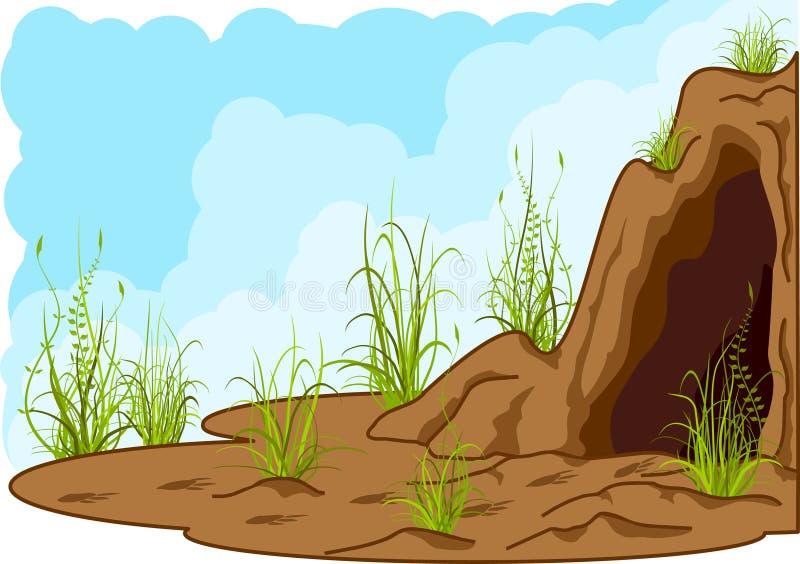 grottaliggande vektor illustrationer