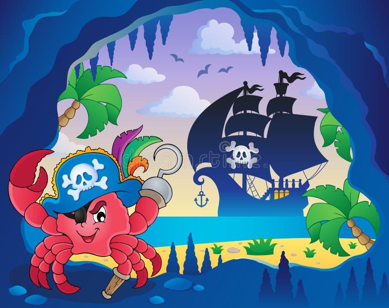 Grottan med piratkopierar krabban royaltyfri illustrationer
