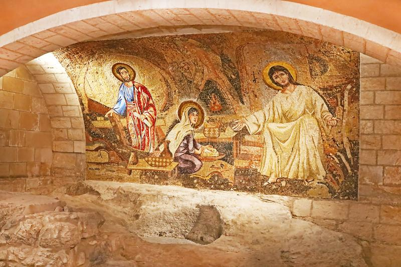 Grotte mit Jesus-Mosaik im Heiligen Joseph Church, Nazaret lizenzfreies stockfoto