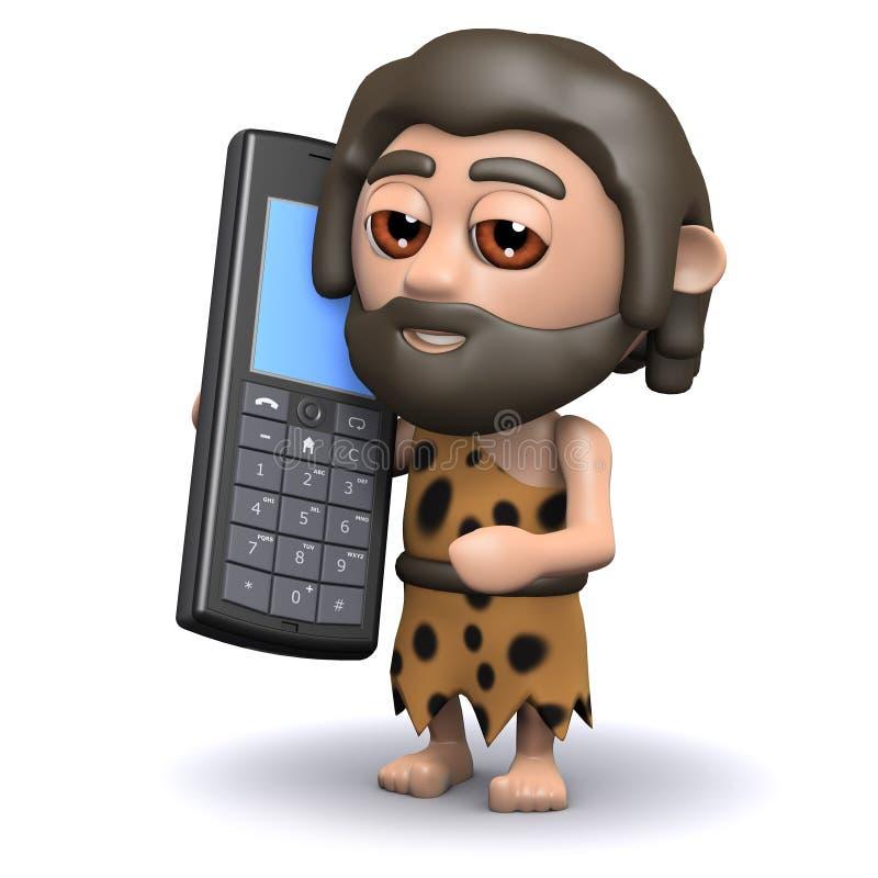 grottmänniska 3d med en mobiltelefon royaltyfri illustrationer