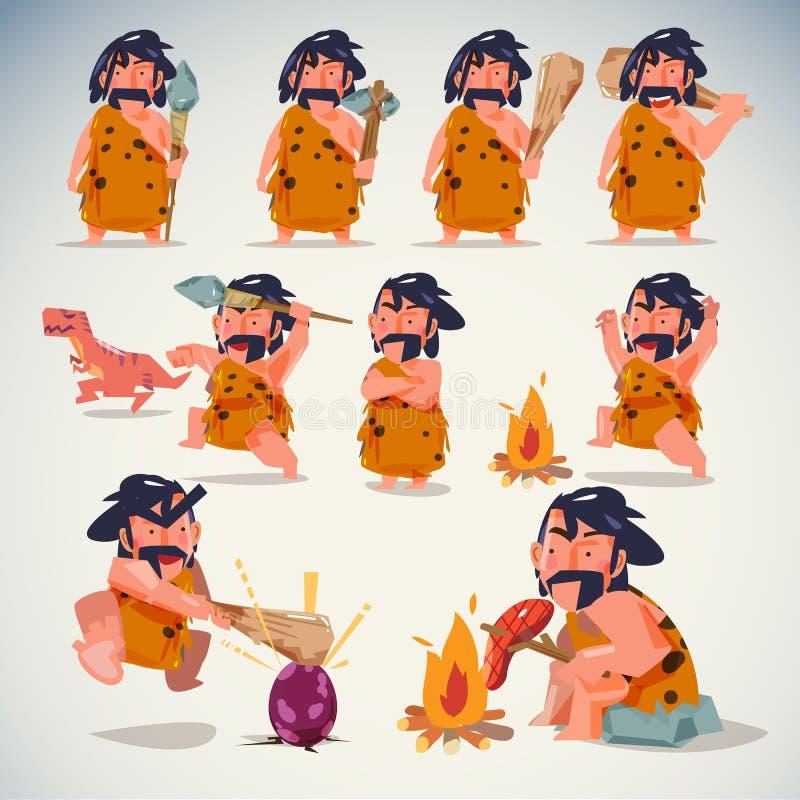 Grottmänniska i handling Uppsättning för teckendesign olika positioner begrepp för stenålder - vektor stock illustrationer