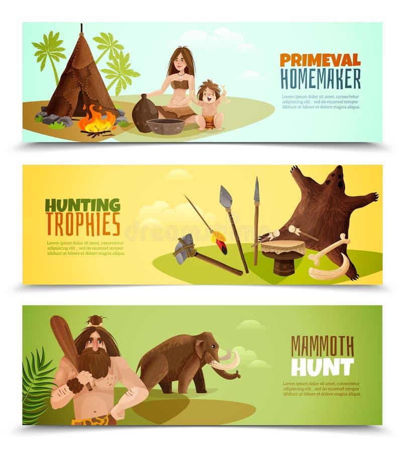 Grottmänniskahorisontalbaner stock illustrationer