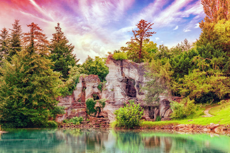 Grotto of Apollo in Petit Trianon-beautiful Garden in a Famous P. Alace of Versailles (Chateau de Versailles), France stock photography