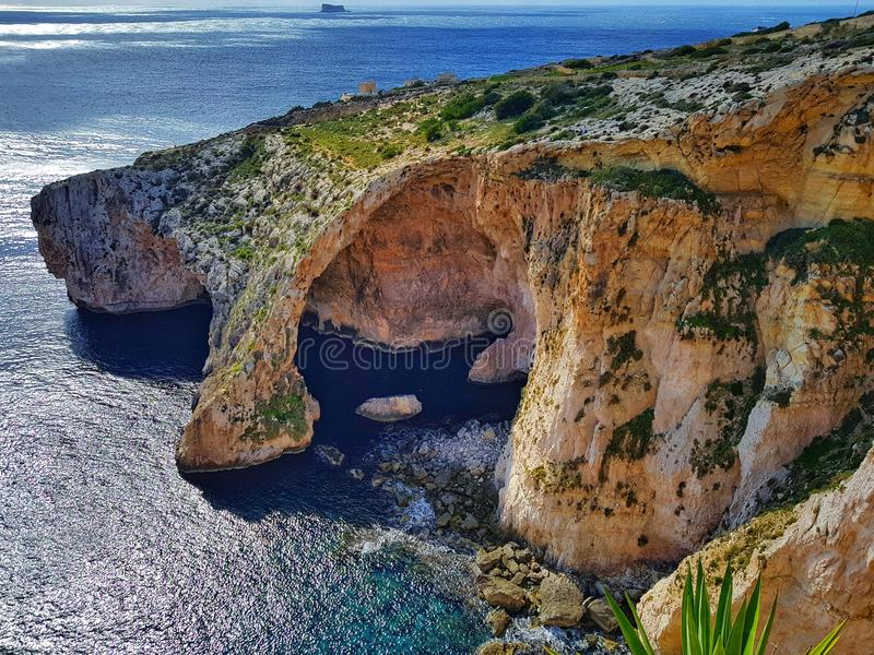 Grotto azul, Malta fotos de stock royalty free
