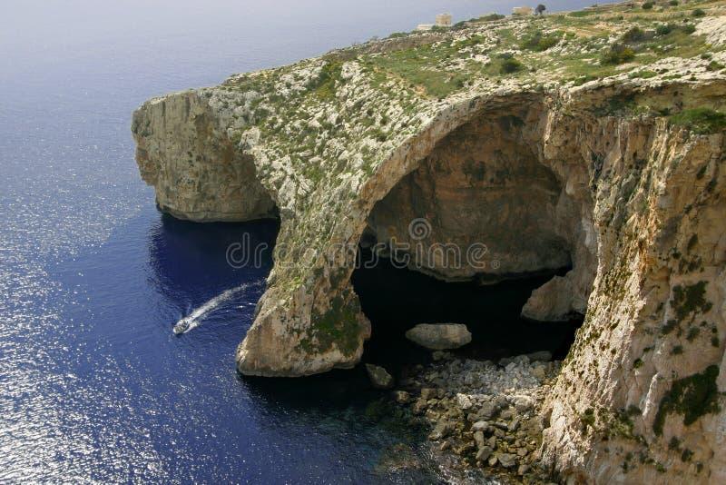 Grotto blu, isola di Gozo, Malta immagini stock libere da diritti