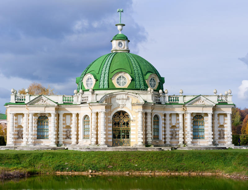 Grotto in Kuskovo park, Moscow stock photography