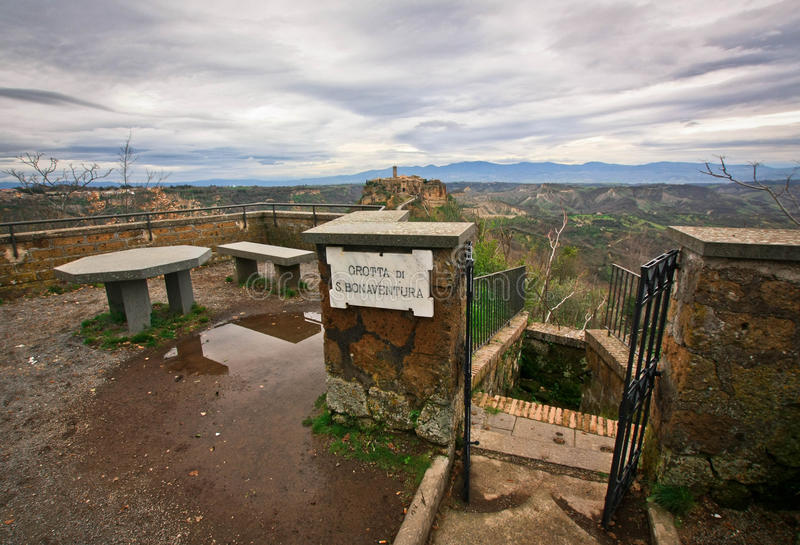 Grotto near the city-castle on the rock Civita-di-Bagnoredgio. In Italy royalty free stock photos