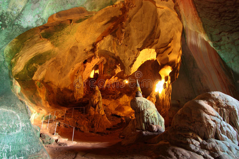 Grotto and pathway of cavern temple stock images