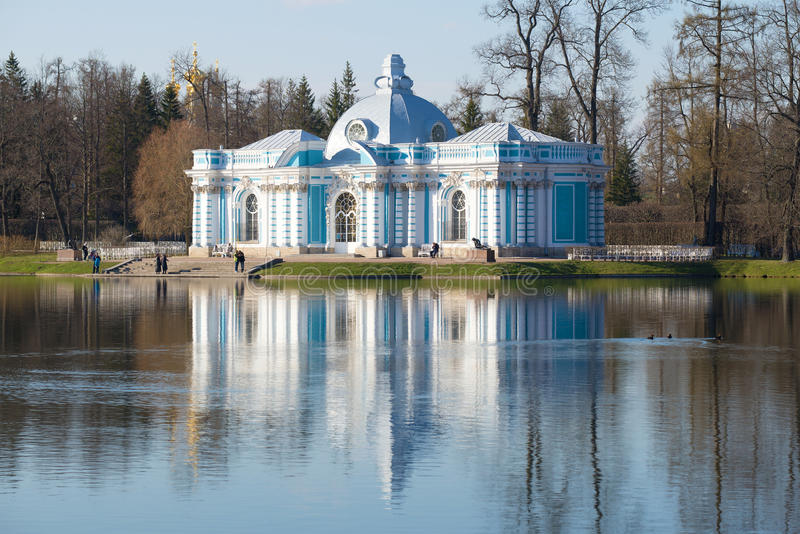 Grotto Pavilion on the Great Pond in the Catherine Park of Tsarskoye Selo in the spring royalty free stock photography