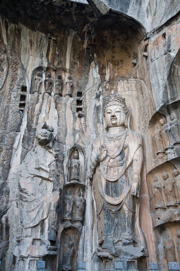 grottor longmen luoyang royaltyfria foton