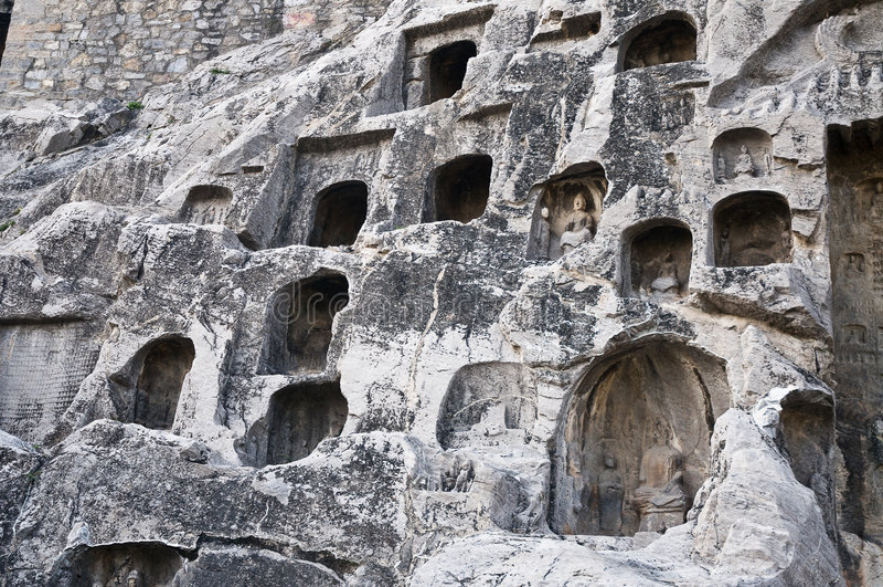 grottor longmen luoyang royaltyfri foto