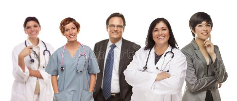Groud de médico e de executivos no branco fotografia de stock
