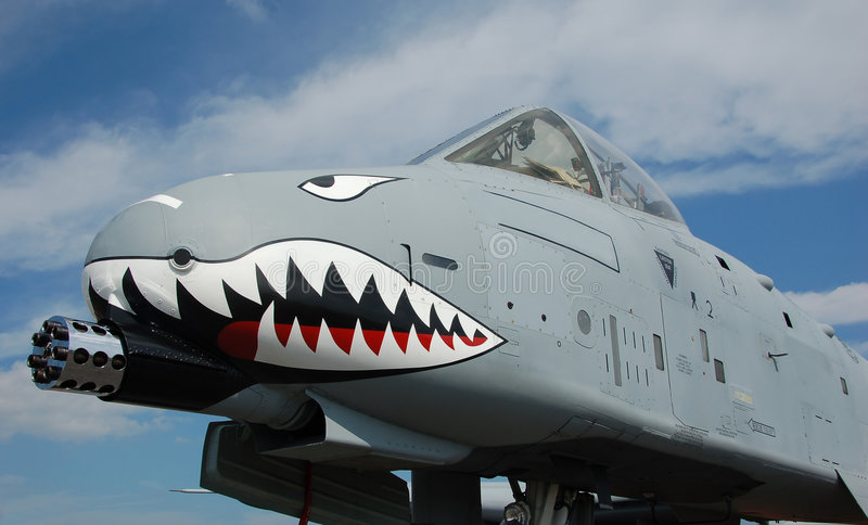 Ground attack jet fighter. Heavy flying gunship used by the US Air Force (A-10 Warthog also known as Thunderbolt royalty free stock images
