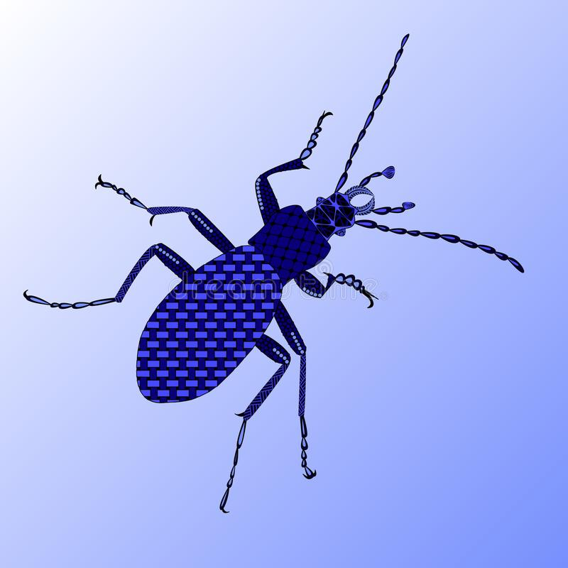ground beetle in a zenart style, blue beetle on a blue background royalty free illustration