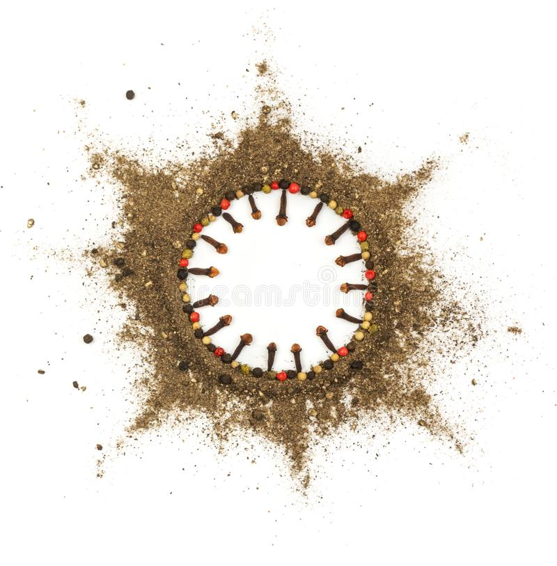Ground Black Pepper Isolated. Round Frame Made of Ground Black and Red Pepper. Food Art royalty free stock photography