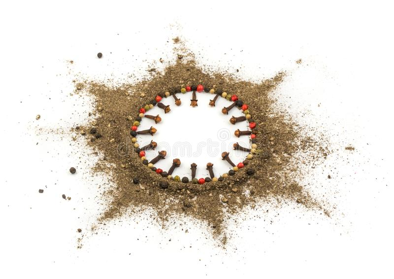 Ground Black Pepper Isolated. Round Frame Made of Ground Black and Red Pepper. Food Art stock photos